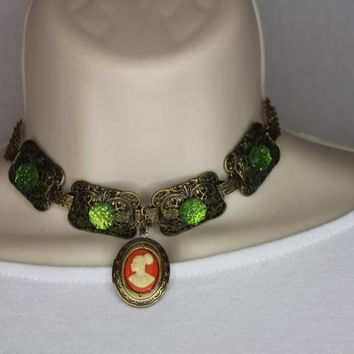 Orange,Green,And Bronze Cameo Locket Necklace/Free Shipping