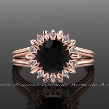 Sun Flower Black Diamond Engagement Ring, In Rose Gold