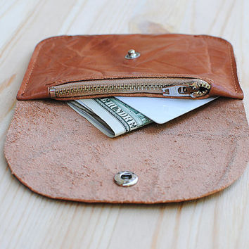 Small Womens / Mens  Rustic  Genuine Leather Wallet