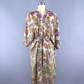 Silk Robe Kimono / Vintage Indian Sari / Purple Floral Print / Long Robe / Wedding Lingerie / Bohemian Muted Colors