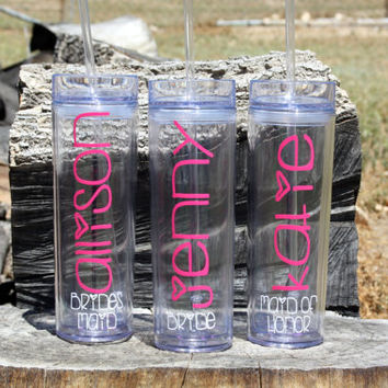 8 Tall Skinny Personalized Tumblers Wedding Party Gifts, Bride, Bridesmaids, Flower Girls