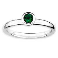 Sterling Silver Stackable Expressions Low 4mm Round Cr. Emerald Ring
