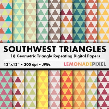 Southwestern Triangle Digital Paper - Scrapbooking paper, repeating pattern, art background, southwest pattern, triangle pattern