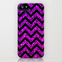 Chevron Purple Sparkle iPhone Case by M Studio (Not Real Glitter)