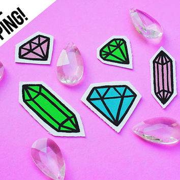 Pastel Cut Crystal, Gem Stone, Diamond Shaped, Jewel Rock, Hand-Painted, Upcycled Sew On Patch Set By Stitchy Delinquent