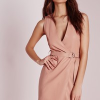 Missguided - Petite Exclusive Plunge Wrap Shift Dress Nude