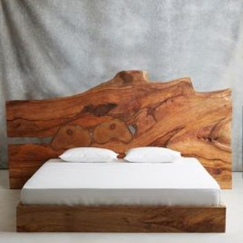 Live Edge Wood King Bed by Anthropologie Brown Motif King Furniture