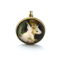 10% SALE - Ring Little Angel in Oil Painting Style Cute Design Copper Circle Shape