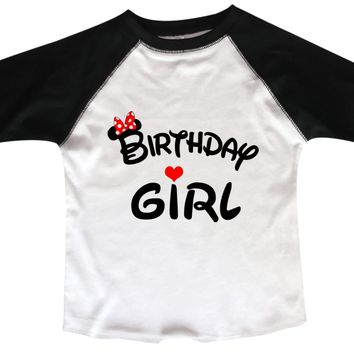 Birthday Girl Disney BOYS OR GIRLS BASEBALL 3/4 SLEEVE RAGLAN - VERY SOFT TRENDY SHIRT B997