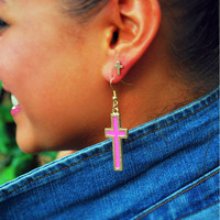 Colored Silhouette Cross Earrings - CrossCultureApparel.com