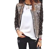 Womens Long Sleeve Print Jacket Ol Casual Peplum Blazer Coat