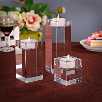 Quartz Crystal Glass Cube Tealight Candle Stand Holder Clear Rare Crystals Sphere Holders For Wedding candelabra centerpieces