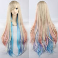 "39"" 100cm Anime Vocaloid Mayu Cosplay Wig Rainbow Long Curly Wigs Heat Resistant Party Costume Hair Free Shipping"