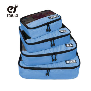 """ECOSUSI Breathable Travel Bag 4 Set Packing Cubes Luggage Packing Organizers with Shoe Bag Fit 23"""" Carry on Suitcase"""