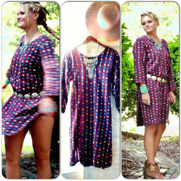 Vintage boho dress, Coachella Mexicali Mexican festival dress, Bohemian gypsy dresses, linen Summerfest dress Hippie, True rebel clothing
