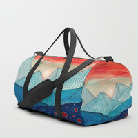 Lines in the mountains IV Duffle Bag by Viviana Gonzalez