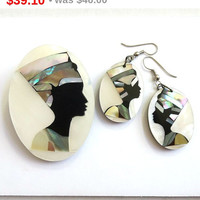 SALE Vintage Nefertiti Cameo Brooch and Earrings Set - Lucite with Inlaid Mother of Pearl