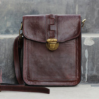 Handmade Ipad Mini Leather Satchel - Brown Messenger Bag - Full Grain Cowhide Leather / Leather Purse / Hand Bag / Hip Bag / Shoulder Bag