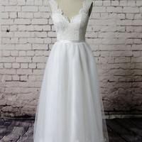 Gorgeous Lace Wedding dress, Bateau Neck Bridal gown, Simple Ivory Wedding gown, A-line wedding dress