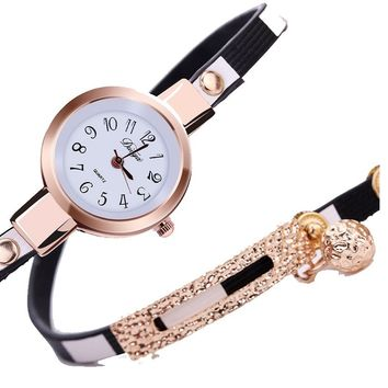 Gold Dress Leather Casual Bracelet Quartz Wristwatch For Women