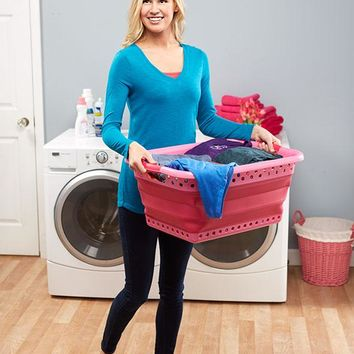 Large Pink Collapsible Laundry Basket Perforated Rubber Handle Folds for Storage