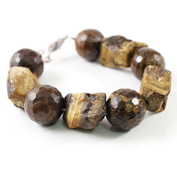 Rough tigers eye jewelry chunky stone bracelet