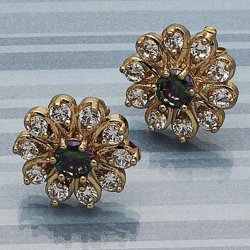 Gold Layered Women Flower Stud Earring, with Amethyst Cubic Zirconia, by Folks Jewelry