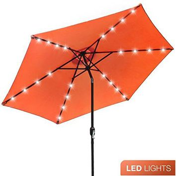 10 ft Patio Umbrella LED Solar Power, with Tilt Adjustment and Crank Lift System,