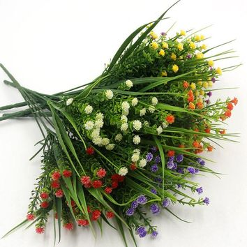 1PCS New Arrival Small Artificial Green Plants Grass Fake Floral Plastic Flowers For Office Home Wedding Party Table Decoration