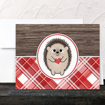 Hedgehog Heart Note Cards - Cute Rustic Wood with Red Plaid Pattern - Thank You Cards - Printed Cards