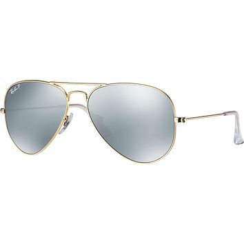 Ray Ban Aviator Sunglass Gold Silver Mirrored Polarized RB 3025 112/W3