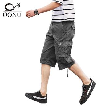 OONU 2017 Hot Summer Men's Army Cargo Work Casual Bermuda Shorts Men Fashion Joggers Overall khaki military Trousers Plus size