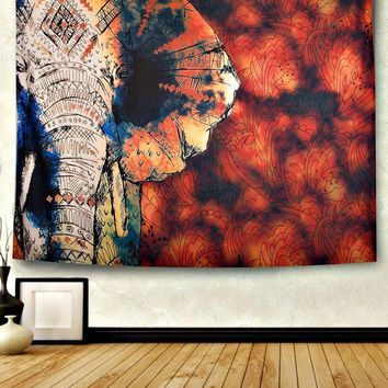 Fire Sky Elephant Boho Wall Bed Tapestry