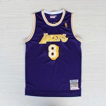 PEAPJ3V LA Lakers #8 Kobe Bryant 1996-1997 Season Purple Swingman Jersey