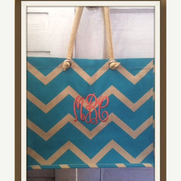 Monogrammed Chevron or Geometric Designed Jute Totes - Two Designs and Six Colors