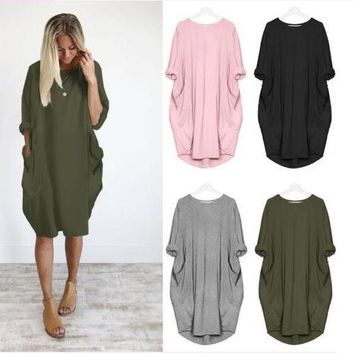 Autumn Winter Loose Shift Dress With Pockets Large Size 2XL Women Clothes Casual Women Long Sleeve Dress black gray green pink
