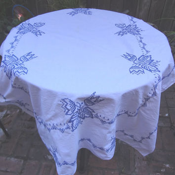 Vintage Blue Work Tablecloth / Rectangle