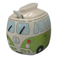 Free Shipping 1Piece Ceramic Sugar Bowl Camper Van Seasoning Pot Sugar Cruet with Lid & Spoon Condiment Storage Box