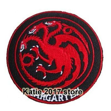 Three heads Dragon Clothing Iron on Patches, TV shows Game of Thrones Targaryen Family Fabric Badge, Children DIY Accessories