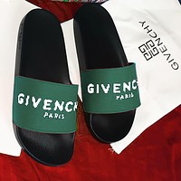 Givenchy Slippers Women Men Letters Sandals Black soles+Arme green Vamp