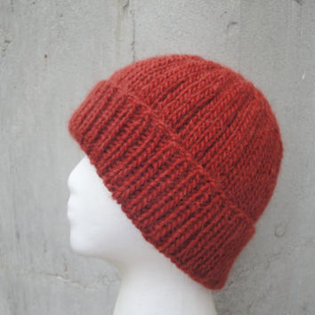 Mens Beanie Hat, Orange, Hand Knit Llama/Wool, Watch Cap, Warm Winter, Man Guys Teens