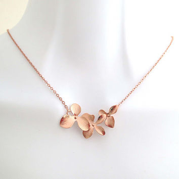 Rose gold, Orchid, Flower, Necklace, Lovers, Best friends, Mom, Sister, Gift, Accessory, Jewelry