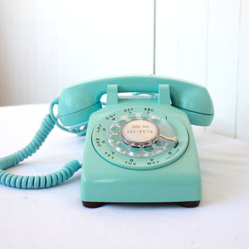 Vintage Phone, Vintage Rotary Phone, Turquoise Phone, Rotary Telephone, Aqua Rotary Phone, Vintage Western Electric Phone