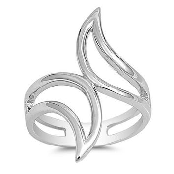 Sterling Sliver Abstract Linear Swirl Ring