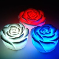 1 X Novelty Mini Cute Charming Changing 7 Color LED Rose Party Candle Light Lamp
