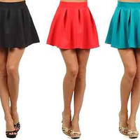 Women Sexy Solid Colors High Waist A-Line Flared Pleated Skater Mini Skirt