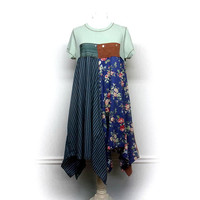 Shabby Chic Dress, Long Boho Tunic, Romantic Clothing, Boho Chic Clothing, Bohemian Clothing, Lagenlook Style, Sustainable Upcycled Clothing