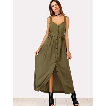 Army Green Single Breasted Cami Dress