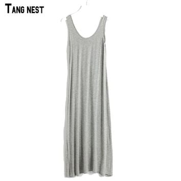 TANGNEST 2017 New Women's Dress Floor-length Casual Summer Camisole Dress Modal Loose Big Size 16 Colors  WQW138