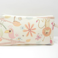 Large Zippered Pouch, Animal Diaper Clutch, Travel Bag, Cute Animal Print Pouch, with Strap, Ready to Ship